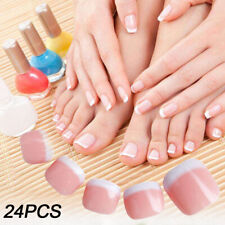 24pc French Tips Full Nails Covers Natural Finger Toes Fake False  Manicure Nail