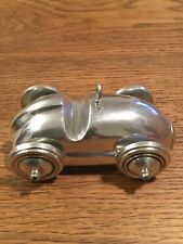 Vintage Aluminium Silver Stylised Sports Car with Moving Axil and Wheels