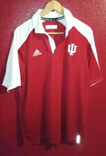 Men's Large Adidas Red University of Indiana Hoosiers Climalite Polo