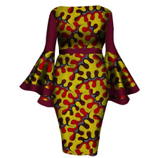 African Women Dashiki Cotton Wax Print Dress X11934