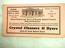 Crystal Cleaners & Dyers 2635-45 North Halsted Street Chicago Ink Adv. Blotter