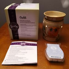 Retired Scentsy Owl Owlet Premium Warmer in Box with Zephyr Bar