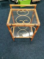 Antique Bamboo And Glass Bedside Tables / Plant Stand mid century