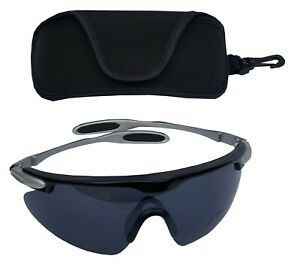 SPORTSPEX Fishing XL Sports Glasses Charcoal Smoke Polycarb Lens Plastic Frame