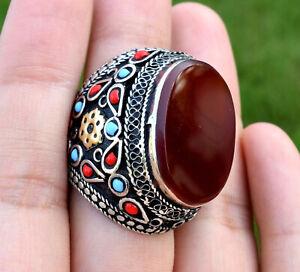 Red Carnelian Stone Ring Afghan Kuchi Tribal Ethnic Jewelry Bohemian Turkish Big