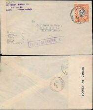 KUT KENYA ELDORET to SIERRA LEONE WW2 CENSORED 1940 SINGLE 20c FRANKING...MAKENI