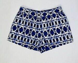 "NWT J.Crew Blue Geometric Linen Blend Pull On 3"" Boardwalk Shorts Pockets Size 4"