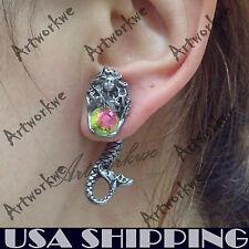 Metallic Mermaid Serpent Puncture Unisex Ear Stud Womens Mens Earring 1PC