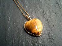 "Tigers eye Heart Pendant Gold Chain Necklace Gemstone Healing Jewelry 16""-24"" UK"