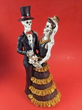 "Gothic Wedding Decor Skeleton Bride & Groom Figurine 12"" Day Of The Dead Zombie"
