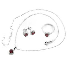 GENUINE AAA BLOOD RED RUBY HEART & WHITE CZ STERLING 925 SILVER SET