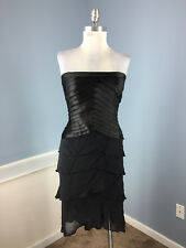 Tadashi S 4 6 Black Silk Satin Cocktail Formal Dress High low Strapless tiered