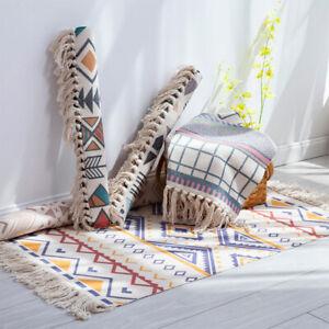AU_ IC- DI- HD_ KQ_ Tassel Non-Slip Door Sofa Mat Floor Carpet Rug Tapestry Blan