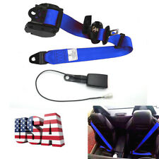 3 Point Style Retractable Car Safety Seat Belt with Camlock Blue Nylon Straps
