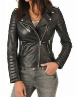 Leather Jacket Women S Black Size Womens M Coat Motorcycle Biker Moto Genuine 9