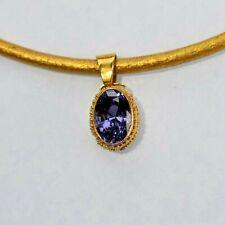 22k Solid Gold Handmade in Bali 3 carat Natural Purple Spinel Pendant