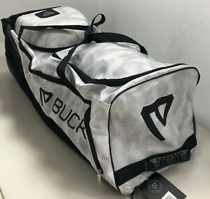 """New Buck Athletics """"The Beast"""" large wheeled baseball bag white camo BABWB120"""