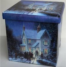 Christmas Carol Singers at House Foldable Storage OTTOMAN Cube Seat Stool