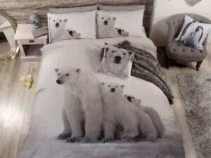 Polar Bear in the Snow Photo Print Bedding Set Duvet Cover Single Double King