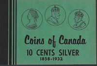 10 Cents Silver 1858-1932 Coins of Canada Meghrig Album Folder NOS