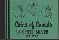 10 Cents Silver 1858-1932 Coins of Canada Meghrig Album Folder NOS