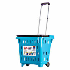 dbest products GoCart Wheeled Grocery Cart Utility Laundry Basket, Teal (5 Pack)