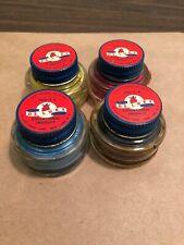 Vintage 4 Glass Jars Deluxe Paint Blue Yellow Black Educational School New York