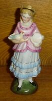 Repaired Antique Porcelain Figurine Of Girl w/ Bird - 6""