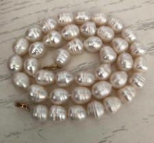 single strands 12-13mm south sea white baroque pearl necklace 18inch