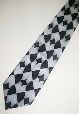 Silver, Navy Blue, And Gold Abstract Tie - Necktie With Symmetrical Patteren
