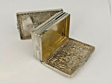 Colonial Indian silver snuff box with hinged hidden base snuff & tobacco box