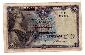 PORTUGAL Billet 50 CENTAVOS 1918  P112 WWI BON ETAT