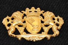 VINTAGE Signed MIRIAM HASKELL LIONS Crest CROWN PIN Gold COAT OF ARMS Key HTF