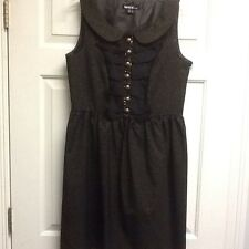 Kensie Pretty Black Metallic Cocktail Party Dress Gold Beaded Ruffle NWOT Large