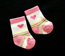 NWOT Preemie baby girl Colorful striped with hearts design beautiful socks.