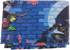 Batman & Robin Kid's Flat Twin Size Bed Sheet Blue Brick Wall Gothic Noir Look