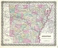 Map Antique 1855 Colton Arkansas State USA Large Replica Canvas Art Print