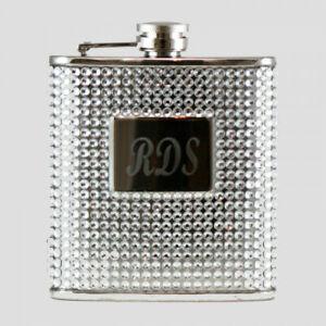 Silver Crystal Bead and Rhinestone 6 oz Hip Flask