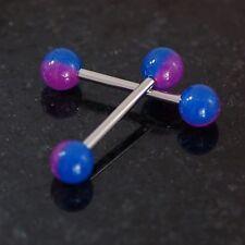 """Pair Purple/Blue Stripe Glow In Dark Balls Nipple Rings 14g 3/4"""" Surgical Steel"""