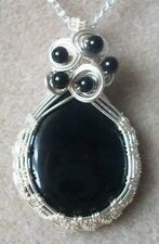 Black Onyx Agate Gemstone Cabochon Wire Wrapped Woven Pendant Necklace