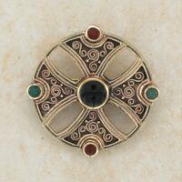 Decorative Irish CELTIC BRONZE BROOCH w/ Carnelian, Onyx and Green Agatestones.