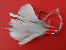 6/0 WHITE COD FEATHERS  3 HOOK RIGS X 2 SETS COD FISHING / SEA FISHING TACKLE