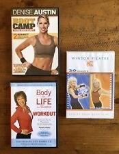 Lot Of 3 Fitness Dvds, Denise Austin Boot Camp, Windsor Pilates, Body For Life