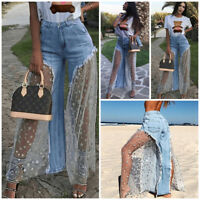 US Womens Denim Jeans Destroyed Split Joint Lace Tulle High Waist Pants Trousers