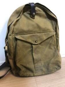 FILSON Backpack Hand Bag Tan Brown 100% Cotton Leather Men's Rare From Japan