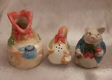 New Listing1987 Fitz & Floyd Bacon and Eggs Pig & Hen Salt And Pepper with Rooster Creamer