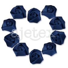 10pcs Satin Ribbon Flower Rosebuds Craft Wedding Appliques Favor Deep Blue OBS