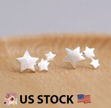 925 Sterling Silver Tri Star Stud Earrings Ear Climbers Tiny Silver Stud Earring
