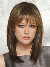 HESW182 medium brown mixed golden blonde hair straight wigs for modern women wig