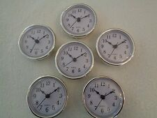 "20 PAK, 2-1/2""(65mm) QUARTZ CLOCK FIT-UP/Insert,Silver Trim,Arabic Numeral,White"